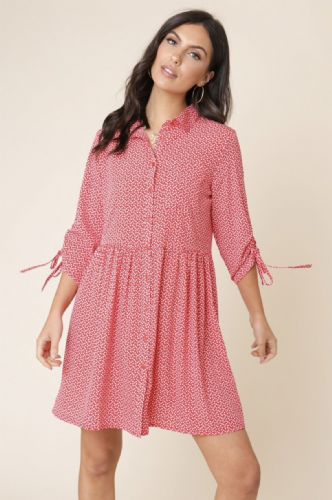RED HEART BUTTON DOWN 3/4 SLEEVE SHIRT TUNIC DRESS/TOP SIZES UK 8, 10, 12, 14